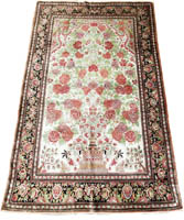 Traditional Persian Qume Silk Rug