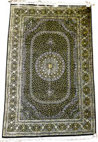 Traditional Fine Persian Qume Silk Rug