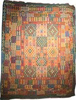 Traditional Afghan Flatweave with Stitching